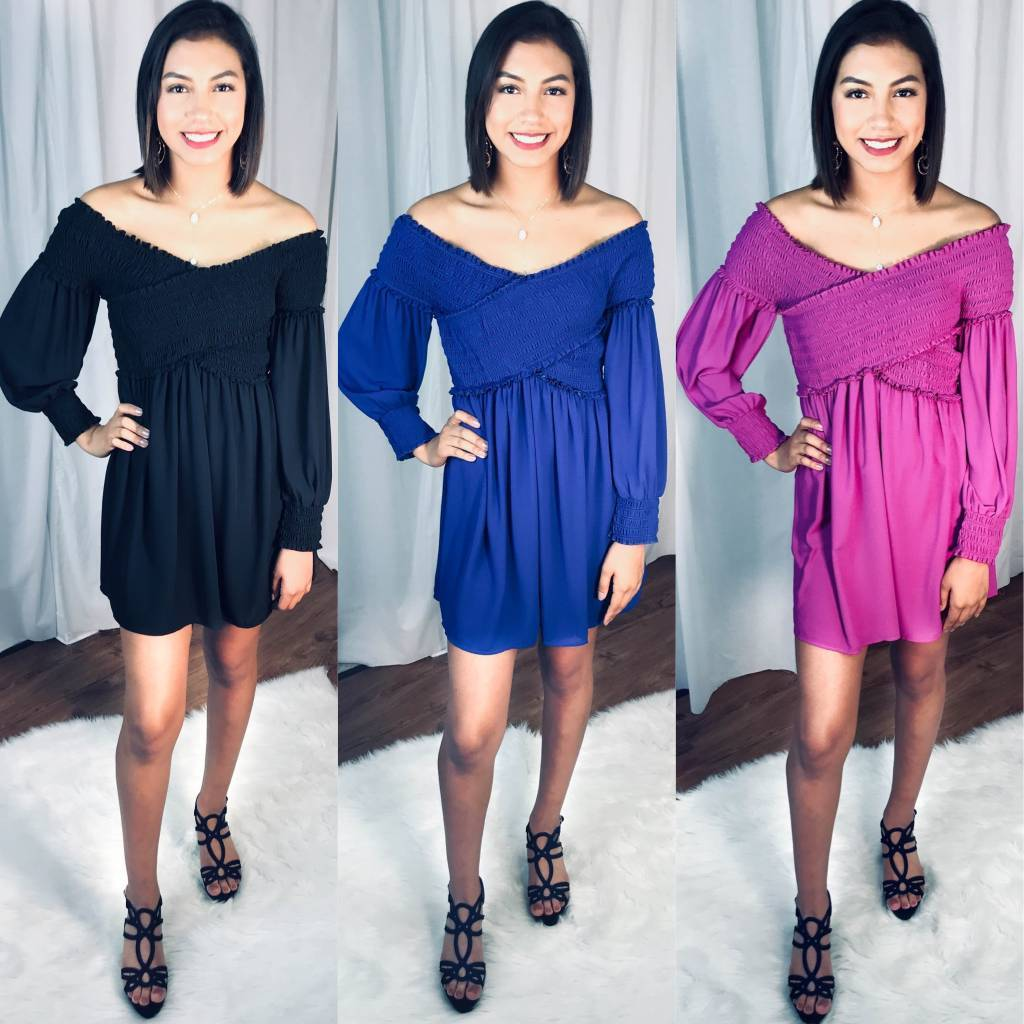 Sasha Long Sleeve Dress Magenta