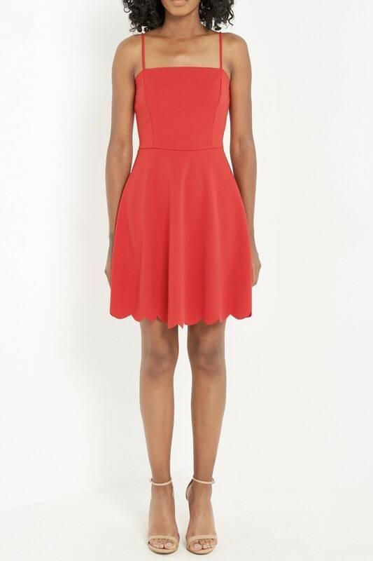 Destiny Scalloped Dress Red