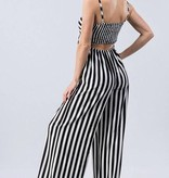 Black And White Striped Tie Front Jumpsuit