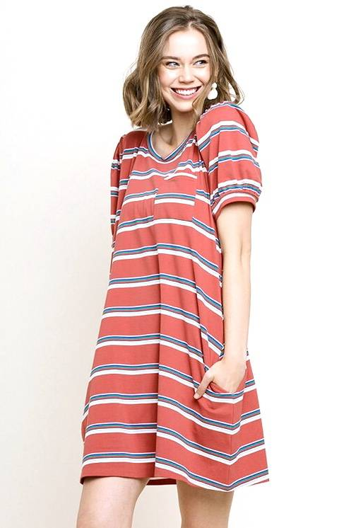 Red Clay Striped Puff Sleeve Dress