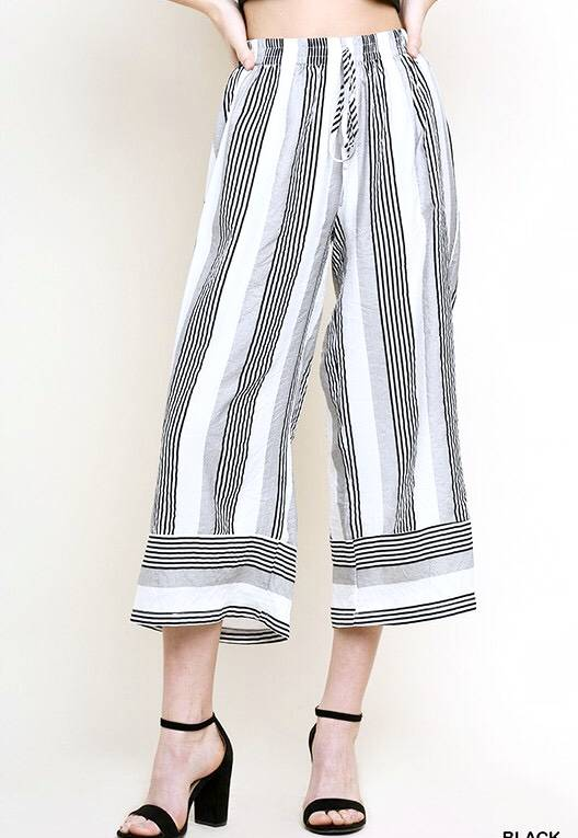 Black Striped High Waisted Cropped Pants