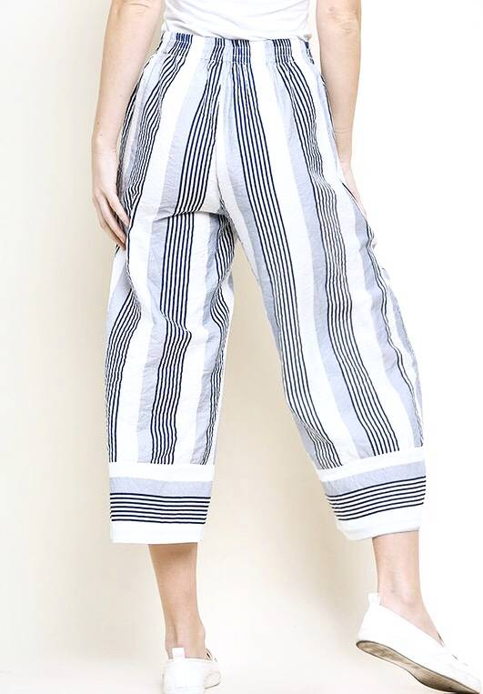 Navy Striped High Waisted Cropped Pants