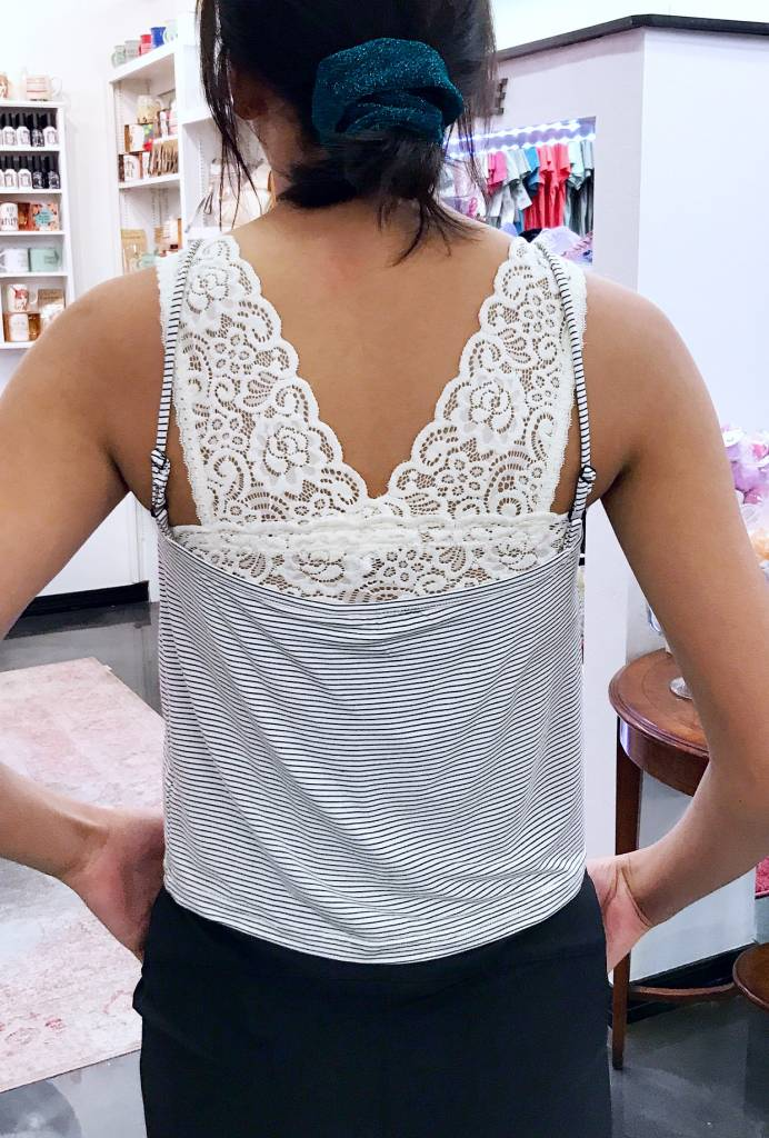 Spaghetti Strap Gathered Peekaboo Top White/Black