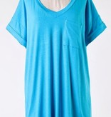 Blue Lagoon Solid Roll Up Short Sleeve V-Neck Top