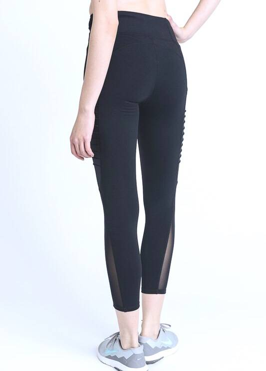 Moto Ribbed Mesh Leggings Black