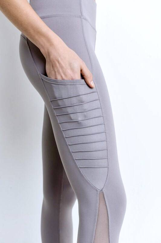 Moto Ribbed Mesh Leggings Mauve