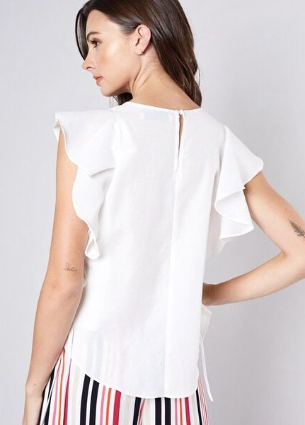 Pleated Front Ruffle Sleeve Top White