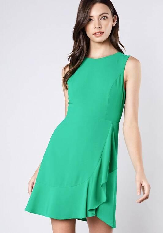 Green Sleeveless Wrap Dress