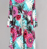 Teal and Magenta Floral w/ Flare Sleeves
