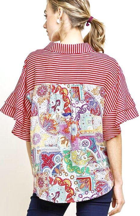 Red Button Up Striped Top w/ Medallion Back Print