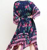 Navy and Fuchsia Floral V-Neck Midi Dress