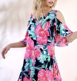Navy/Fuchsia Floral Cold Shoulder Tunic