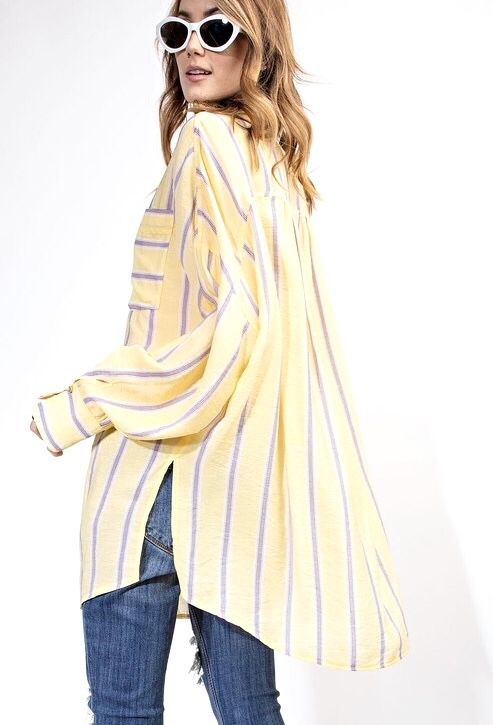 Yellow Striped Over Sized LS Button Up Top