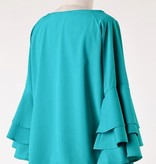 Turquoise Bell Sleeve Front Knot Top