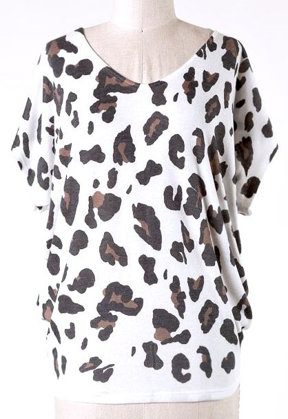 Ivory Leopard SS Top