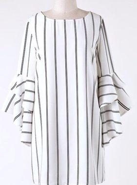 White/Black Bell Sleeve Keyhole Back Top