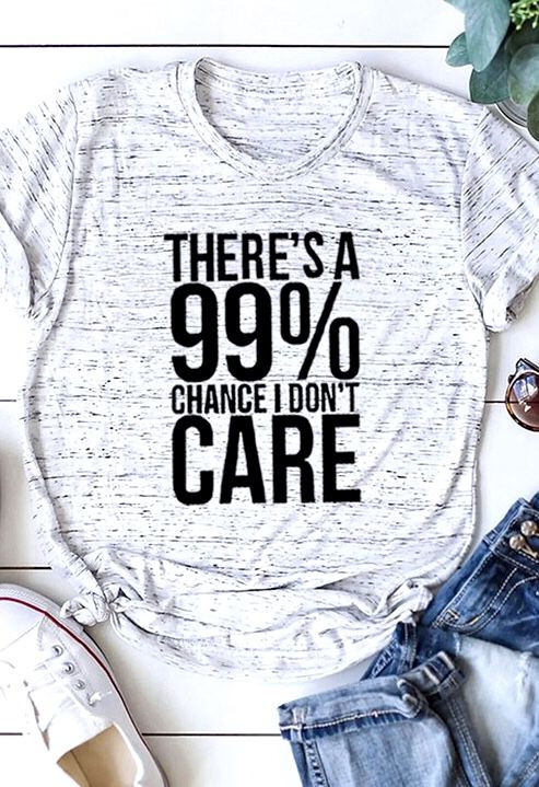 """White Marble """"I Don't Care"""" Graphic Tee"""