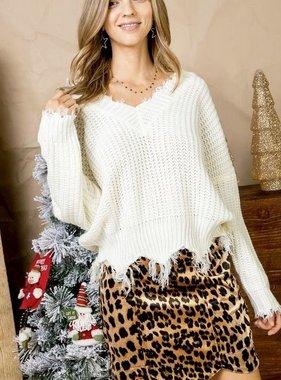 Cropped Fringe Sweater Ivory
