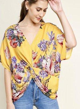 Honey Floral Front Twist Dolman Sleeve Top