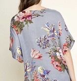 Grey Floral Front Twist Dolman Sleeve Top