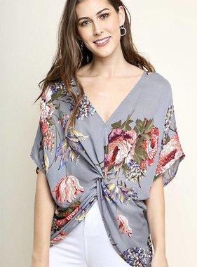 Grey Floral Front Twist Dolman Sleeve Top
