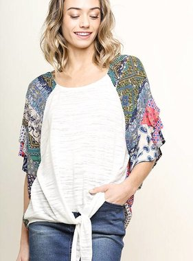 Off White Top with Mix Print Ruffle Sleeve