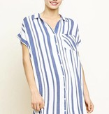 Navy and White Striped Button Up Dress