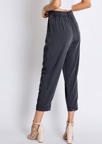 Charcoal Cuffed Trouser Pants
