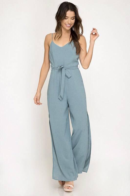 Slate Sleeveless Jumpsuit with Waist Tie and Side Slits