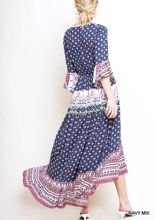 Navy Floral Mix Maxi Dress with Cinched Waist