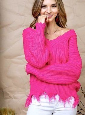 Cropped Fringe Sweater Neon Fuchsia