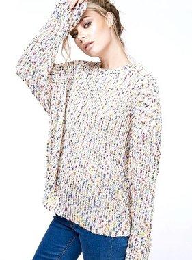 Cream Multi Pom Pom Knit Sweater