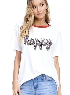 """Ivory """"Happy"""" Graphic Top"""