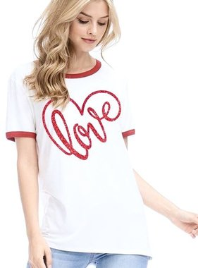 """Ivory """"Love"""" Graphic Top"""
