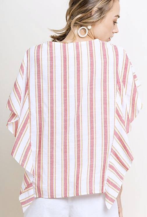 Faded Red and Yellow Striped Ruffle Sleeve Top