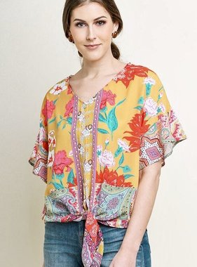 Sunray Mix Floral Short Sleeve Ruffle Sleeve Tie Detail Top