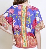 Periwinkle Mix Floral Short Sleeve Ruffle Sleeve Tie Detail Top
