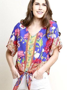 Periwinkle Mix Floral Short Sleeve Ruffle Sleeve Tie Detail Top