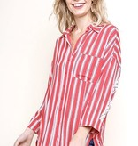 Bright Coral Striped 3/4 Sleeve Button Up Detail Top