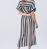 Navy/Ivory and Red Striped Button Detail Jumpsuit