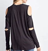 Black Cold Shoulder Open Elbow LS Top