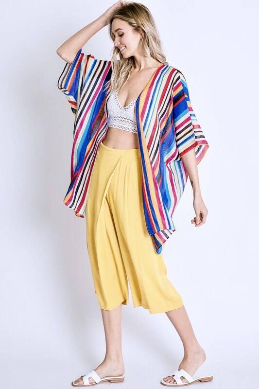 Blue Multi Striped Kimono