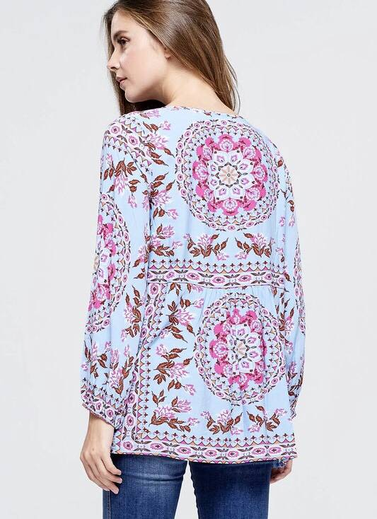 Blue Puff Sleeve Floral Peasant Top