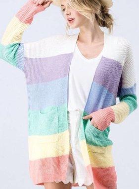 Light Multi Striped LS Cardigan