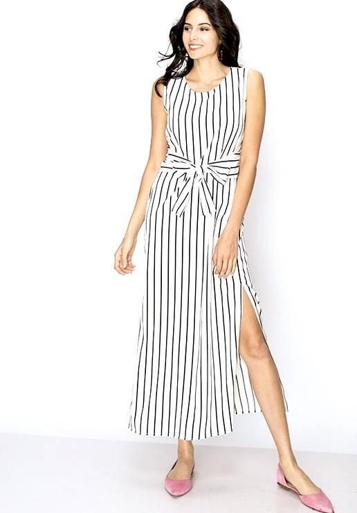 White and Black Striped Tie Front Dress