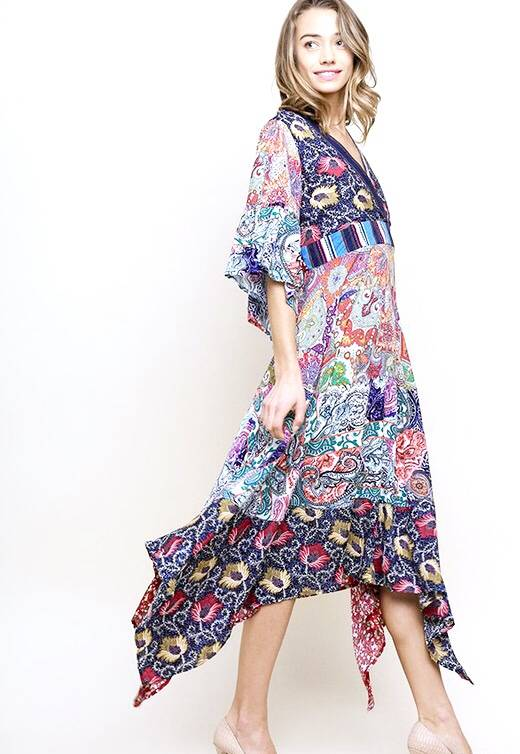Navy Floral Mix V-Neck Maxi Dress