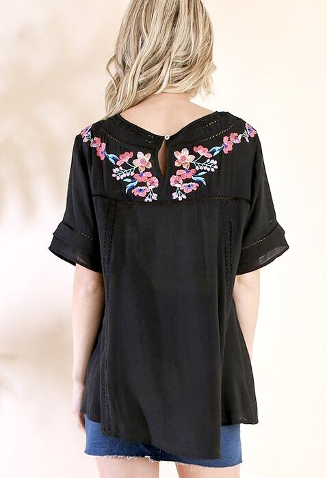 Black Floral Embroidered SS Top