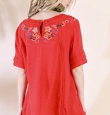 Red Floral Embroidered SS Top