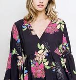 Black Mix Floral Print Bell Sleeve Dress