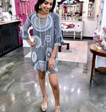 Grey Multi Geo Print Tunic Dress with Bell Sleeves
